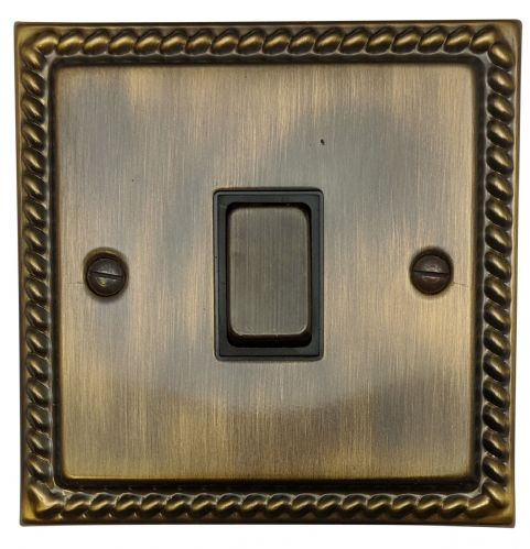 G&H MAB301 Monarch Roped Antique Bronze 1 Gang 1 or 2 Way Rocker Light Switch
